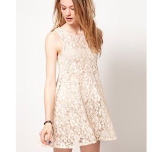 Free People Miles of Lace Blush Dress SP D1